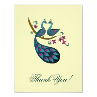 Peacock Thank You cards -ivory