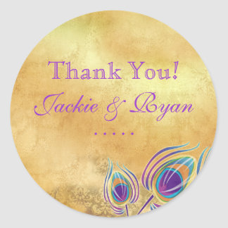 Peacock Thank You Stickers Vintage Gold Purple