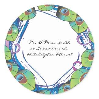 Peacock Theme Wedding Invitation Reply sticker sticker