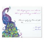 "Peacock Theme Wedding Reply card Invite Blue 4.25"" X 5.5"" Invitation Card"