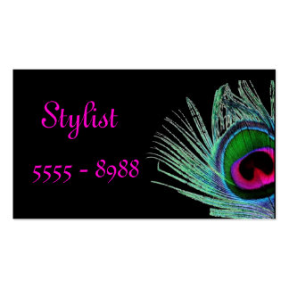 Peacock themed black stylist business card