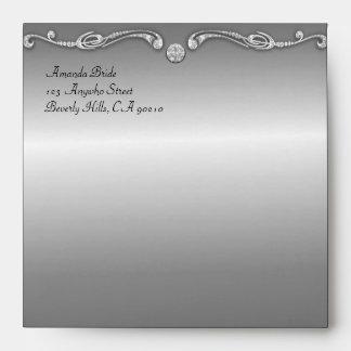 Peacock Themed Silver Wedding Invitation Envelopes