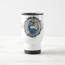 Peacock Travel Mug w Centered Logo - White