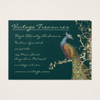 Peacock Tree Leaf Grunge Swirl Design Business Card