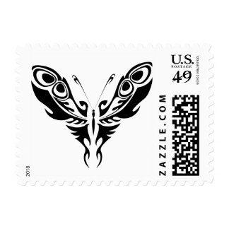 Peacock tribal butterfly stamp