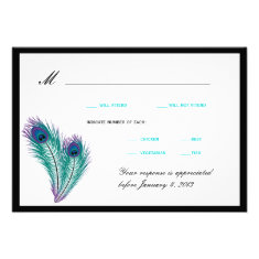 Peacock Tuxedo RSVP Cards Invite