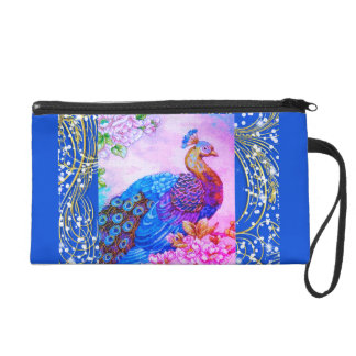 PEACOCK TWO DIFFERENT SIDES WRISTLET PURSE