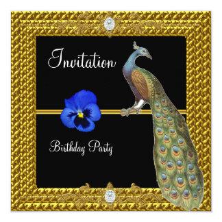 Peacock Unique and Elegant Gold  Black Card