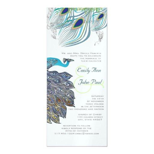 "Peacock Vintage 3 Feathers 4"" X 9.25"" Invitation Card"