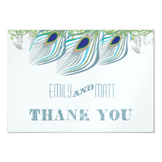 Peacock Vintage 3 Feathers Thank You 3.5x5 Paper Invitation Card