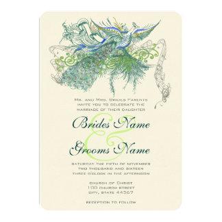 Peacock Vintage Love Birds 5x7 Paper Invitation Card