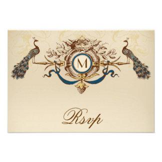 Peacock Vintage RSVP Card For Square Invites