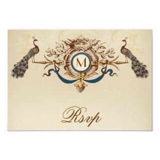 "Peacock Vintage RSVP Card For Square Invites 3.5"" X 5"" Invitation Card"