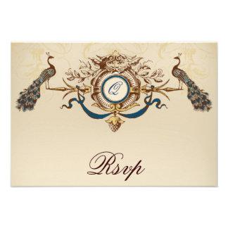 Peacock Vintage RSVP Cards Custom Invitation