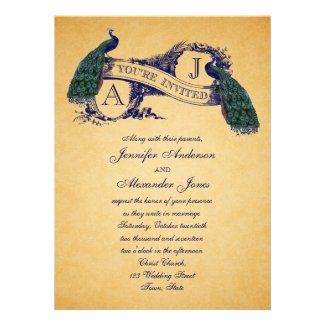 Peacock Vintage Wedding Invitations