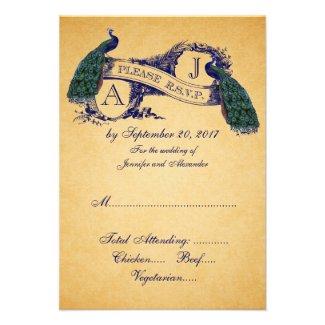 Peacock Vintage Wedding RSVP CARD