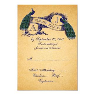 Peacock Vintage Wedding RSVP CARD | Blue