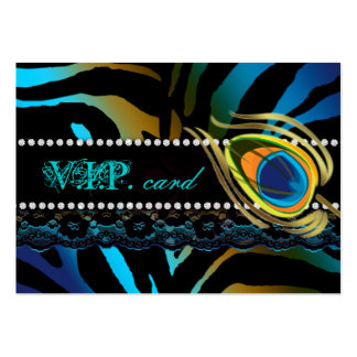 Peacock VIP Card Lace Zebra Blue Gold Large Business Card