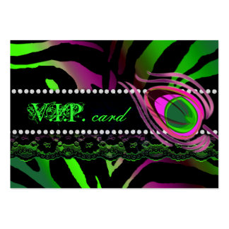 Peacock VIP Card Lace Zebra Lime Pink Large Business Card