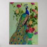 Peacock w/Dahlia's by Rachel Uchizono Poster
