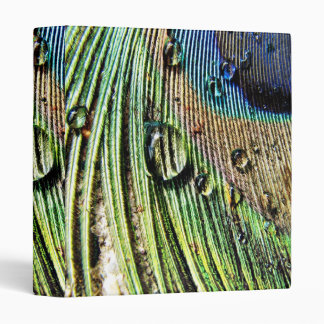 Peacock water droplets blue green feathers binder