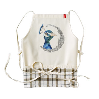 Peacock Watercolor with Faux Silver Glitter Zazzle HEART Apron