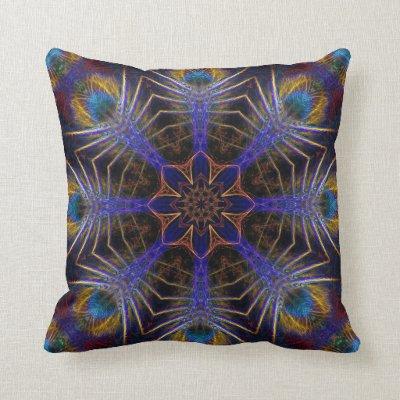 Peacock Web Fractals Jumbo Cushion Pillow