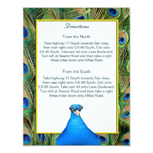 Peacock Wedding Direction Card Personalized Invitation