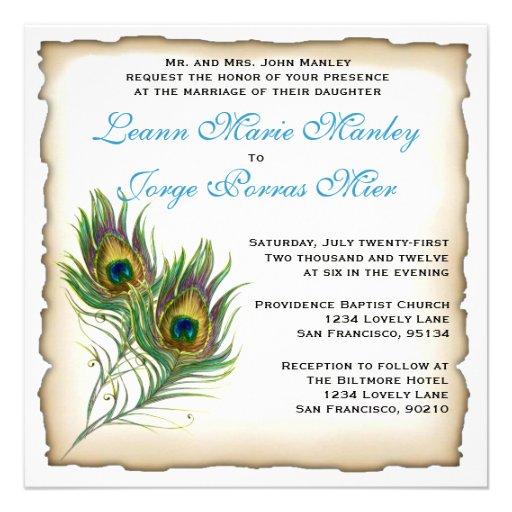 "Peacock Wedding Invitations: Peacock Wedding Invitation 5.25"" Square Invitation Card"