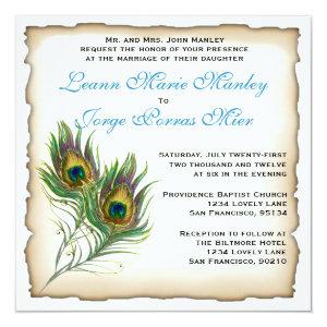 Peacock Wedding Invitation 5.25