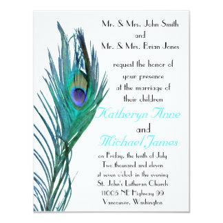 "Peacock Wedding Invitation #2 4.25"" X 5.5"" Invitation Card"