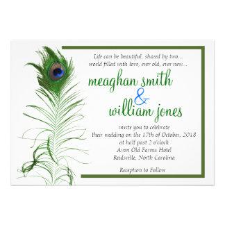 Peacock Wedding Invitation 5X7