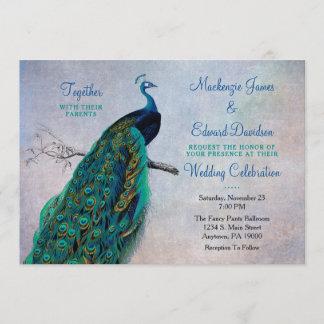 Peacock Wedding Invitation Vintage Blue Elegant
