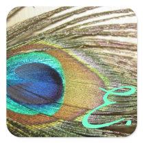 Peacock Wedding Monogram Stickers