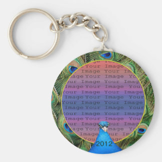 Peacock Wedding Photo Key Chain