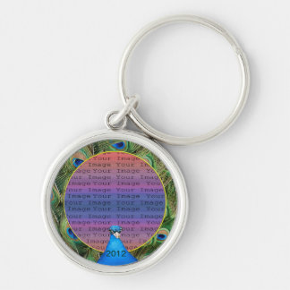 Peacock Wedding Photo Key Chain