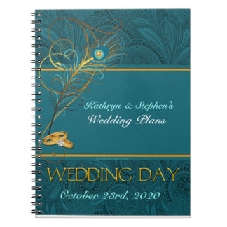 Peacock Wedding Planner for Brides with Name Spiral Notebook
