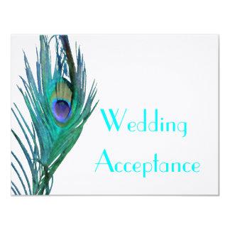 Peacock Wedding Response #2 4.25x5.5 Paper Invitation Card