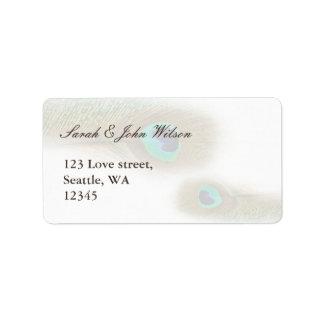 peacock wedding ,return address label