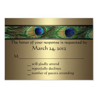 Peacock Wedding RSVP 3.5x5 Paper Invitation Card