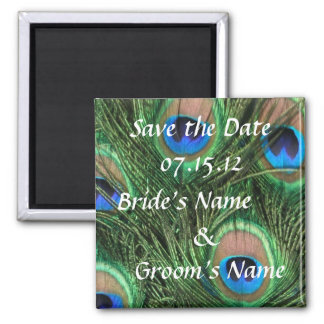 Peacock Wedding Save the Date Magnet