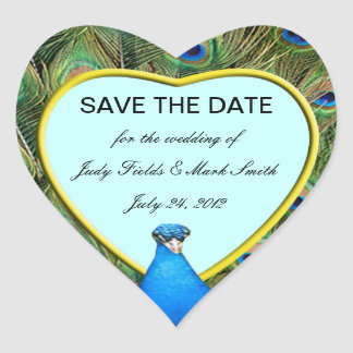 Peacock Wedding Save The Date Stickers