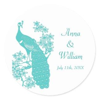 Peacock Wedding Sticker sticker