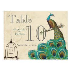 Peacock Wedding Table Number Postcard at Zazzle