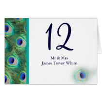 peacock wedding table seating card