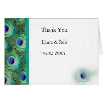 peacock wedding Thank You Card