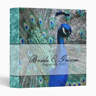 Peacock Wedding Theme 1 (Aqua) 3 Ring Binder