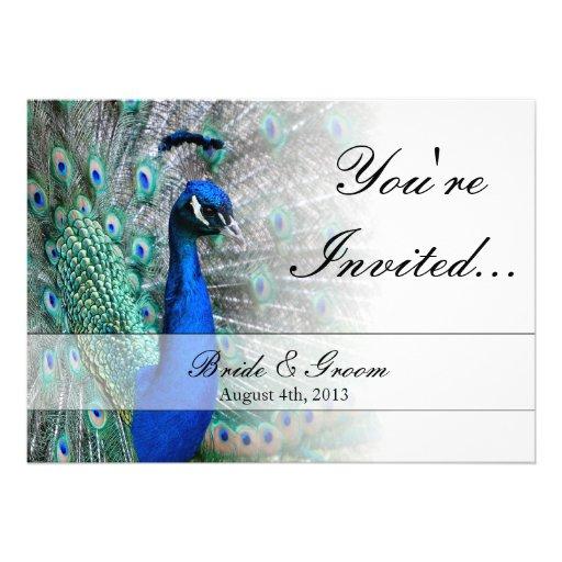 Peacock Wedding Theme 1 5x7 Paper Invitation Card