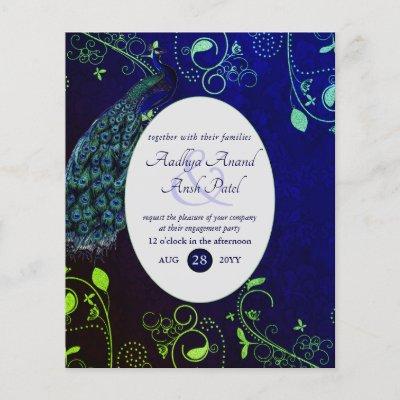 Peacock Wedding Theme Invitation Low Budget Blue