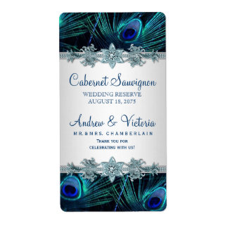 Peacock Wedding Wine Labels